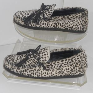ZARA GENUINE LEATHER LEOPARD PRINT LOAFERS SIZE 8